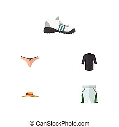 Flat Icon Clothes Set Of Uniform, Elegant Headgear, Trunks Cloth And Other Vector Objects. Also Includes Uniform, Panties, Shorts Elements.