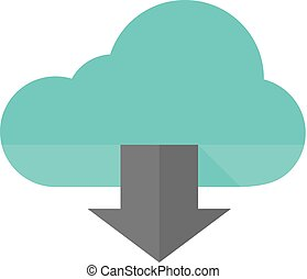 Flat icon - Cloud download