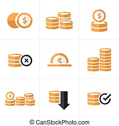 Flat icon  Coins Icons Set, Vector Design black color