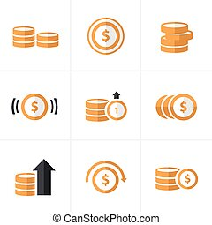 Flat icon  Coins Icons Set, Vector Design