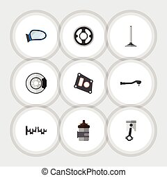 Flat Icon Component Set Of Auto Component, Gasket, Belt And...