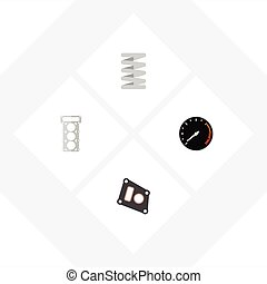 Flat Icon Component Set Of Crankshaft, Gasket, Packing And...