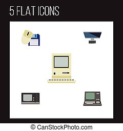 Flat Icon Computer Set Of Computer Mouse, Computing, Vintage Hardware And Other Vector Objects. Also Includes Computing, Floppy, Retro Elements.