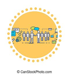 Flat Icon Concept of Business Partnership