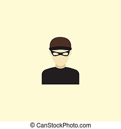 Flat Icon Criminal Element. Vector Illustration Of Flat Icon Thief Isolated On Clean Background. Can Be Used As Criminal, Thief And Burglar Symbols.