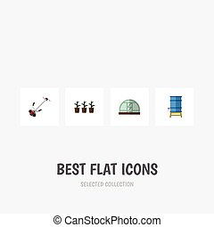 Flat Icon Dacha Set Of Container, Hothouse, Grass-Cutter And...