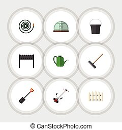 Flat Icon Dacha Set Of Harrow, Hosepipe, Hothouse And Other ...