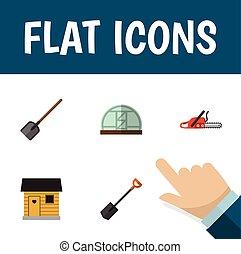 Flat Icon Dacha Set Of Hothouse, Shovel, Hacksaw And Other ...