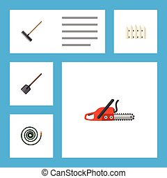 Flat Icon Dacha Set Of Wooden Barrier, Hosepipe, Hacksaw And Other Vector Objects. Also Includes Wooden, Hosepipe, Tool Elements.