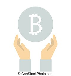 flat icon design of bitcoin in hand.