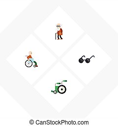 Flat Icon Disabled Set Of Ancestor, Spectacles, Handicapped Man Vector Objects. Also Includes Handicapped, Disabled, Ancestor Elements.