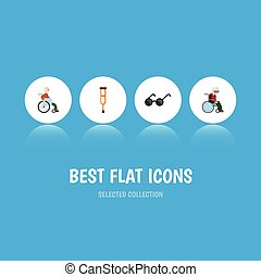 Flat Icon Disabled Set Of Spectacles, Stand, Handicapped Man Vector Objects. Also Includes Handicapped, Disabled, Eyeglasses Elements.