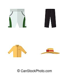 Flat Icon Dress Set Of Banyan, Elegant Headgear, Pants And Other Vector Objects. Also Includes Trunks, Headgear, Hat Elements.