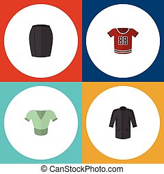 Flat Icon Dress Set Of Casual, Uniform, T-Shirt And Other Vector Objects. Also Includes Blouse, Woman, Apparel Elements.