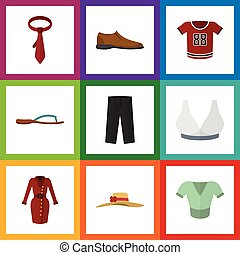 Flat Icon Dress Set Of Clothes, Male Footware, Brasserie And Other Vector Objects. Also Includes Flip, Flop, Cravat Elements.