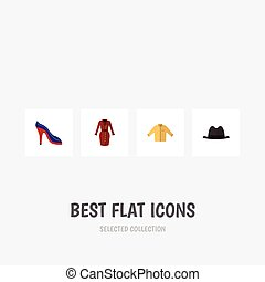 Flat Icon Dress Set Of Clothes, Panama, Heeled Shoe And Other Vector Objects. Also Includes Shoes, Banyan, Hat Elements.