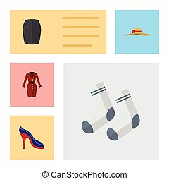 Flat Icon Dress Set Of Clothes, Stylish Apparel, Elegant Headgear And Other Vector Objects. Also Includes Skirt, Garment, Dress Elements.