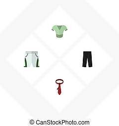 Flat Icon Dress Set Of Cravat, Casual, Trunks Cloth And Other Vector Objects. Also Includes Trousers, Pants, Necktie Elements.