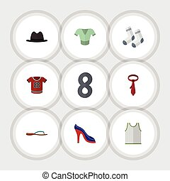 Flat Icon Dress Set Of Cravat, Casual, Heeled Shoe And Other Vector Objects. Also Includes Textile, Cravat, Tank Elements.