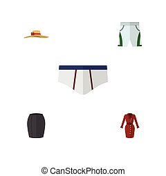 Flat Icon Dress Set Of Elegant Headgear, Clothes, Underclothes And Other Vector Objects. Also Includes Garment, Underwear, Underclothes Elements.