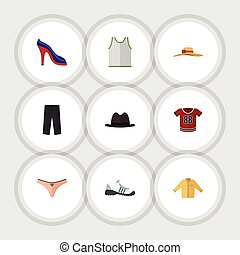 Flat Icon Dress Set Of Elegant Headgear, Pants, Banyan And Other Vector Objects. Also Includes Fedora, Trousers, Panama Elements.