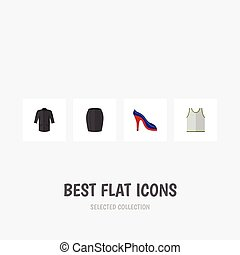Flat Icon Dress Set Of Heeled Shoe, Uniform, Singlet And Other Vector Objects. Also Includes Clothes, Singlet, Uniform Elements.