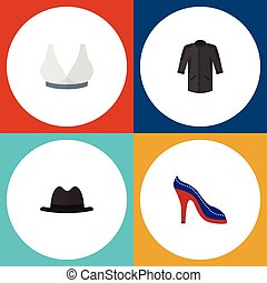 Flat Icon Dress Set Of Heeled Shoe, Uniform, Brasserie And Other Vector Objects. Also Includes Sport, Bra, Fedora Elements.