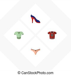 Flat Icon Dress Set Of Lingerie, T-Shirt, Casual And Other Vector Objects. Also Includes Underwear, Lingerie, Sandal Elements.