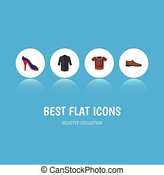 Flat Icon Dress Set Of Male Footware, Heeled Shoe, Uniform And Other Vector Objects. Also Includes Blouse, Shoes, Uniform Elements.