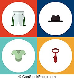 Flat Icon Dress Set Of Trunks Cloth, Casual, Panama And Other Vector Objects. Also Includes Clothes, Shorts, Cloth Elements.