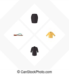 Flat Icon Dress Set Of Uniform, Banyan, Stylish Apparel And Other Vector Objects. Also Includes Woman, Shirt, Flop Elements.