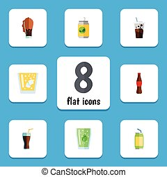 Flat Icon Drink Set Of Cup, Cola, Drink And Other Vector Objects. Also Includes Carbonated, Beverage, Soda Elements.