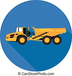 flat icon dump truck in vector format eps10