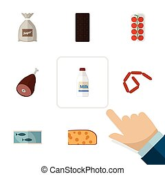 Flat Icon Eating Set Of Bottle, Tin Tuna, Tomato And Other Vector Objects. Also Includes Confection, Sausage, Hotdog Elements.