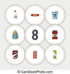 Flat Icon Eating Set Of Packet Beverage, Kielbasa, Bottle And Other Vector Objects. Also Includes Yogurt, Love, Custard Elements.