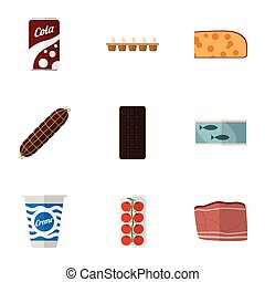 Flat Icon Eating Set Of Tomato, Yogurt, Tin Tuna And Other Vector Objects. Also Includes Fish, Tuna, Beef Elements.