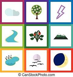 Flat Icon Ecology Set Of Peak, Tributary, Lightning And...