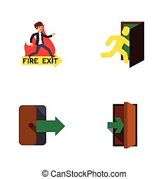 Flat Icon Emergency Set Of Entrance, Directional, Emergency And Other Vector Objects. Also Includes Emergency, Door, Directional Elements.