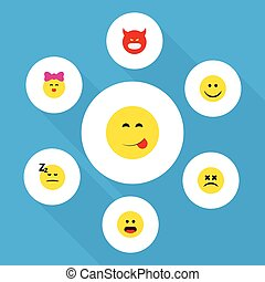 Flat Icon Emoji Set Of Cross-Eyed Face, Wonder, Pouting And Other Vector Objects. Also Includes Smile, Savoring, Emoji Elements.