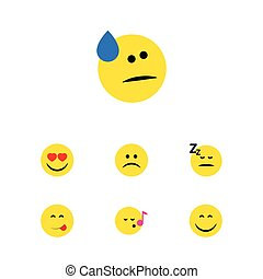 Flat Icon Emoji Set Of Tears, Smile, Asleep And Other Vector...