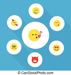 Flat Icon Expression Set Of Descant, Pouting, Cross-Eyed...