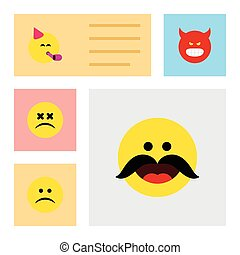 Flat Icon Expression Set Of Party Time Emoticon, Cross-Eyed Face, Sad And Other Vector Objects. Also Includes Fun, Cheerful, Frown Elements.