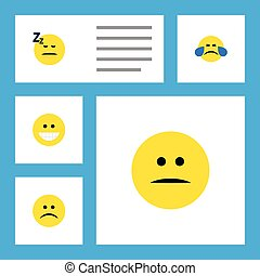 Flat Icon Face Set Of Asleep, Sad, Cold Sweat And Other Vector Objects. Also Includes Tears, Face, Laugh Elements.
