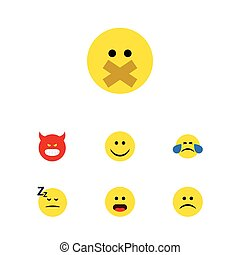 Flat Icon Face Set Of Cold Sweat, Wonder, Pouting And Other Vector Objects. Also Includes Tears, Sad, Silent Elements.