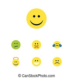 Flat Icon Face Set Of Grin, Joy, Cold Sweat And Other Vector Objects. Also Includes Smile, Tears, Angel Elements.
