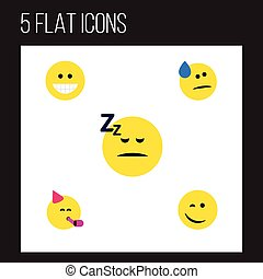 Flat Icon Face Set Of Grin, Winking, Asleep And Other Vector Objects. Also Includes Asleep, Party, Happy Elements.