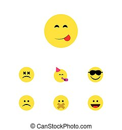 Flat Icon Face Set Of Hush, Delicious Food, Sad And Other Vector Objects. Also Includes Frown, Delicious, Emoticon Elements.