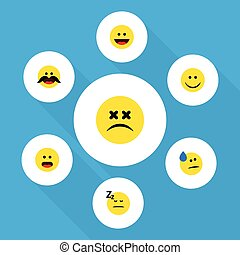 Flat Icon Face Set Of Joy, Asleep, Cheerful And Other Vector Objects. Also Includes Confused, Dizzy, Wonder Elements.
