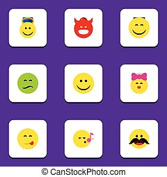 Flat Icon Face Set Of Pouting, Smile, Cheerful And Other Vector Objects. Also Includes Cheerful, Frown, Smile Elements.