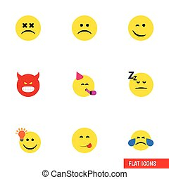 Flat Icon Face Set Of Sad, Have An Good Opinion, Cold Sweat And Other Vector Objects. Also Includes Party, Happy, Idea Elements.